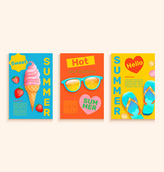 Summer flyerscards with hot season symbols vector