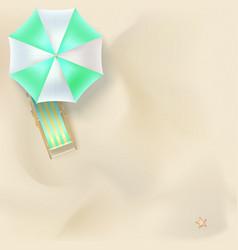 Sun lounger under parasol on the sandy beach vector