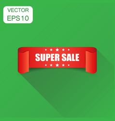 super sale ribbon icon business concept discount vector image