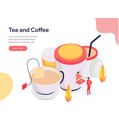 tea and coffee concept isometric design concept vector image