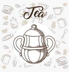 tea kettle with utensils on background vector image