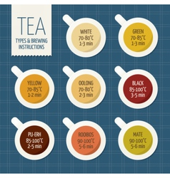 Tea varieties and brewing instructions steep time vector