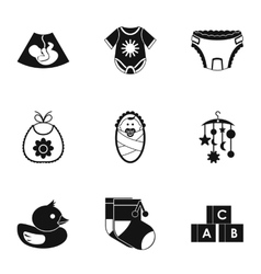 Things for baby icons set simple style vector image