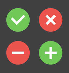 tick cross plus minus icon set vector image