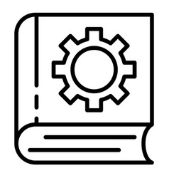 User manual book gear icon outline style vector