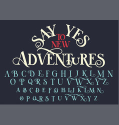 Vintage serif lettering font vector