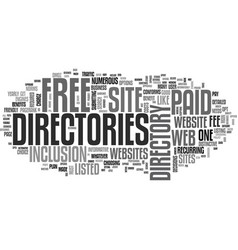 web directories paid and free text word cloud vector image