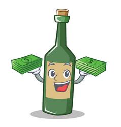 With money wine bottle character cartoon vector