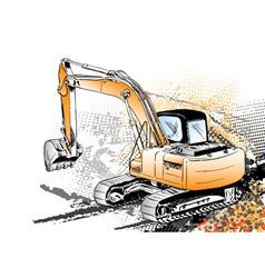 big excavator on the background vector image
