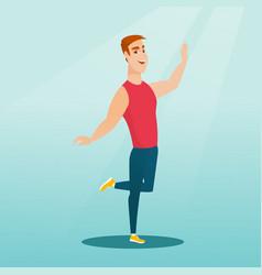 Cheerful caucasian man dancer dancing vector