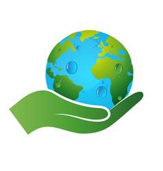 earth symbol in hand vector image vector image