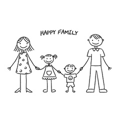 Happy family sketch vector image vector image