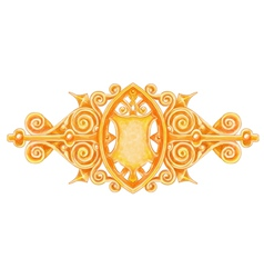Ornated gold vintage decor with heraldic shield vector image vector image