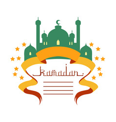 ramadan greeting card with mosque and calligraphy vector image