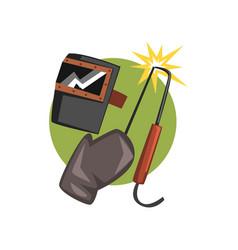 symbols of the welder profession welding machine vector image