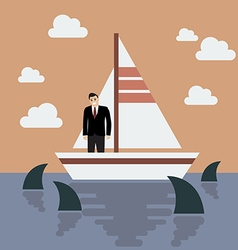 Businessman on small boat with shark in the sea vector image vector image