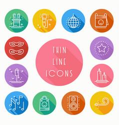 Party celebration thin line icons set birthday vector
