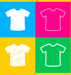 t-shirt sign four styles of icon on four color vector image vector image