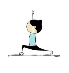 woman practicing yoga warrior pose vector image