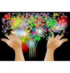 confetti and hand vector image vector image