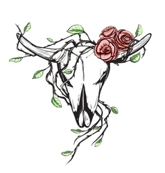 Cow Skull with Romantic Roses Tattoo vector image vector image