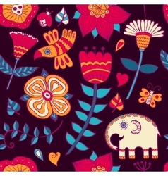 graphic ethnic elephant seamless pattern vector image