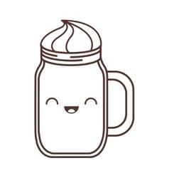 Kawaii jar handle cream liquid vector