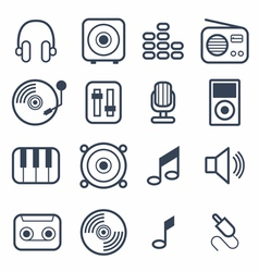 Music Icons with White Background vector image