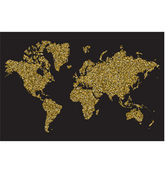 world map isolated on black background gold vector image
