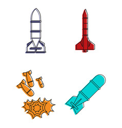 air rocket icon set color outline style vector image