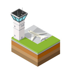 airport runway control tower vector image