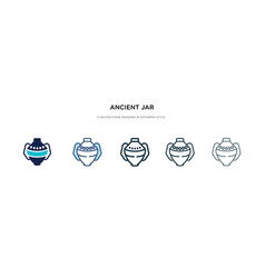 Ancient jar icon in different style two colored vector