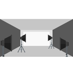 Background of empty photo studio with lighting vector