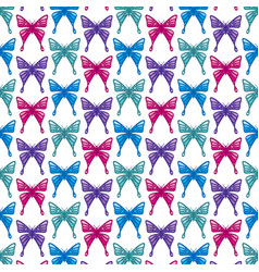 background pattern with butterflies icons vector image