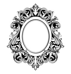 Baroque mirror round frame french luxury vector