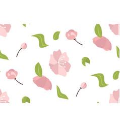 blooming pink sakura flowers with leaves spring vector image