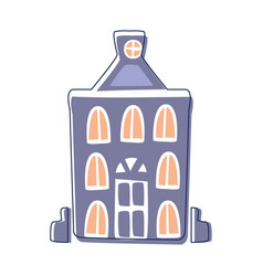 Blue classy building cute fairy tale city vector
