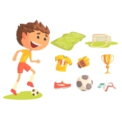 Boy Soccer Football Player Kids Future Dream vector image