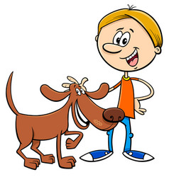 boy with funny dog cartoon vector image