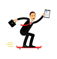 businessman character riding skateboard with vector image