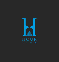 Capital letter h monogram logo concept time vector