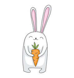 Cartoon bunny with carrot vector