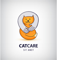 cat care pet shop logo vector image