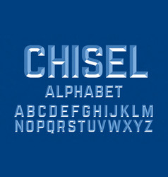 Chiseled alphabet letters set ready to be placed vector