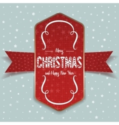 Christmas greeting red Label and white Ribbon vector image