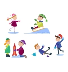 Christmas kids playing winter games vector image