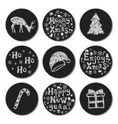 christmas new year silver gift round stickers vector image