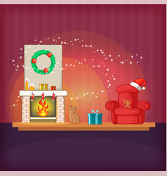 christmas room concept magic cartoon style vector image