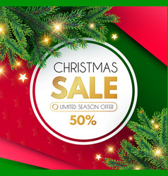 Christmas sale banner holiday background with fit vector