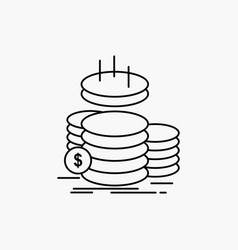 coins finance gold income savings line icon vector image